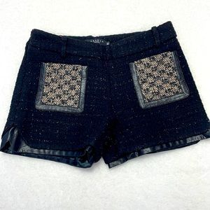 Langbao black sparkle pleather booty club shorts